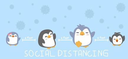 famiglia pinguino allontanamento sociale per prevenire la diffusione del coronavirus