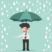 uomo d'affari che tiene un ombrello sotto la pioggia vettore