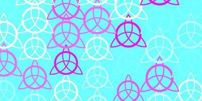 sfondo vettoriale rosa chiaro, blu con simboli occulti.