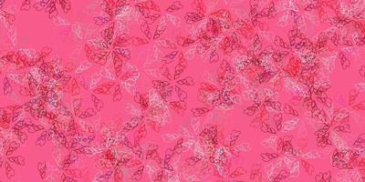 sfondo astratto vettoriale rosa chiaro, rosso con foglie.
