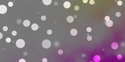 sfondo vettoriale rosa chiaro, giallo con cerchi, stelle.