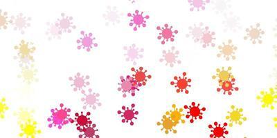 trama vettoriale rosa chiaro, giallo con simboli di malattia.