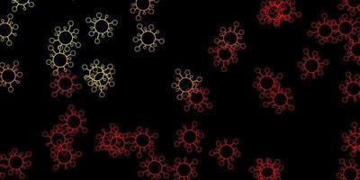 trama vettoriale rosso scuro, giallo con simboli di malattia.