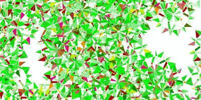 sfondo di fiocchi di neve bella verde chiaro, rosso vettoriale con fiori.