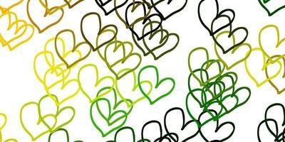 modello vettoriale verde chiaro, giallo con cuori doodle.