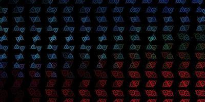 sfondo vettoriale blu scuro, rosso con simboli occulti.
