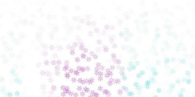 modello astratto di vettore rosa chiaro, blu con foglie.