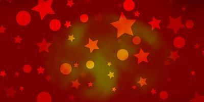 trama vettoriale arancione chiaro con cerchi, stelle.