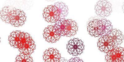 struttura di doodle di vettore viola chiaro, rosa con fiori.