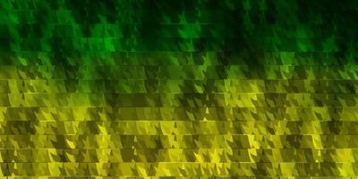 layout vettoriale verde chiaro, giallo con linee, triangoli.