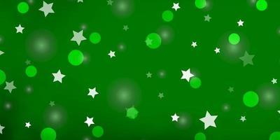 modello vettoriale verde chiaro con cerchi, stelle.