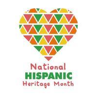 lettere del patrimonio ispanico nazionale nell'icona di stile piatto del cuore