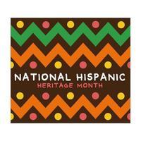 lettere del patrimonio ispanico nazionale con icona di stile piatto cornice di vernice