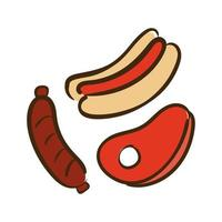 bistecca, salsiccia e hot dog stile piatto icona illustrazione vettoriale design