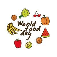 Lettering celebrazione della giornata mondiale dell'alimentazione con frutta e verdura in stile piatto