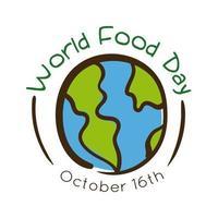 Lettering celebrazione della giornata mondiale dell'alimentazione con stile piatto della terra