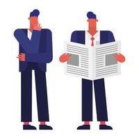 uomini con notizie nel disegno vettoriale di ufficio
