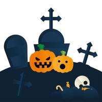 zucche di Halloween al disegno vettoriale del cimitero