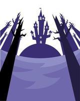 casa di halloween e disegno vettoriale di alberi spogli