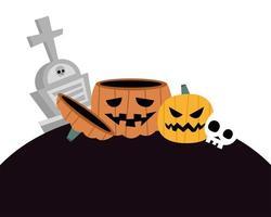 zucche di Halloween, tomba e disegno vettoriale teschio