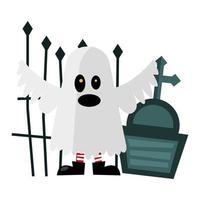 cartone animato fantasma di halloween con disegno vettoriale tomba