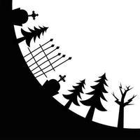 alberi di pino del cimitero di halloween e disegno vettoriale cancello