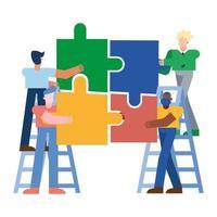uomini con puzzle su disegno vettoriale scale