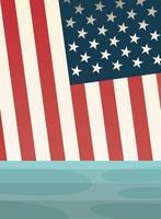 bandiera degli Stati Uniti sul disegno vettoriale del mare