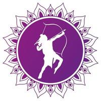 dussehra lord ram silhouette bianca su disegno vettoriale mandala viola