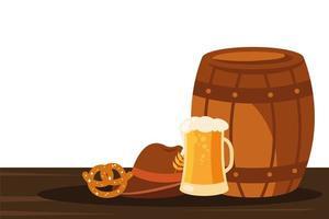 Oktoberfest barile, vetro, cappello e disegno vettoriale pretzel