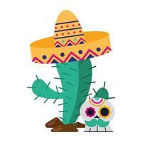 cactus messicano con cappello e teschio disegno vettoriale