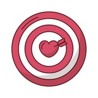felice giorno di San Valentino cuore nel bersaglio con la freccia