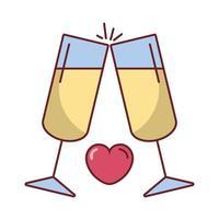 bicchieri di vino di San Valentino con un cuore