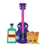 stivali di chitarra messicana e disegno vettoriale di tequila