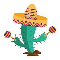 cactus messicano con cappello e disegno vettoriale maracas