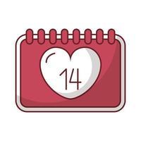 felice giorno di San Valentino calendario con i cuori