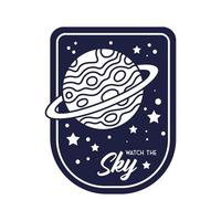 distintivo dello spazio con il pianeta Saturno e guarda lo stile della linea delle lettere del cielo