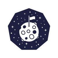 distintivo dello spazio con il pianeta Marte con stile linea bandiera