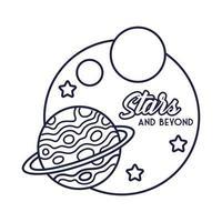 distintivo spaziale con pianeta Saturno e stile di linea di stelle