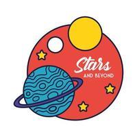 distintivo dello spazio con il pianeta Saturno e la linea delle stelle e lo stile di riempimento