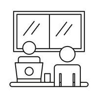 coppia di avatar che lavora sull'icona di stile linea laptop