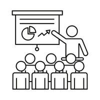 gruppo di lavoratori in formazione con stile di linea di cartone e statistiche