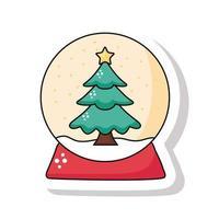 buon natale albero di pino in icona adesivo sfera nevosa