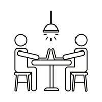 avatar coppia coworking su laptop seduti all'icona di stile linea scrivania