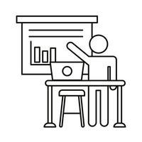 avatar utente che lavora al computer portatile con l'icona di stile della linea di statistiche