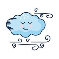 nuvola kawaii con personaggio comico del tempo atmosferico