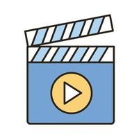 linea di cinema ciak e icona di stile di riempimento vettore