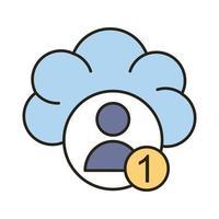 avatar del profilo con il numero uno nella linea di cloud computing e icona di stile di riempimento