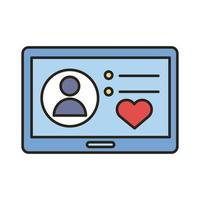 avatar di profilo con cuore in linea tablet e icona di stile di riempimento