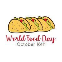 Iscrizione di celebrazione della giornata mondiale dell'alimentazione con tacos messicani stile piatto